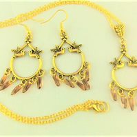 Gold Plated Chandelier Necklace and Earrings Set with Topaz Drop Beads