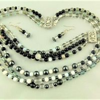 3 Strand Victorian Style Jewellery Set Made With Black White and Grey Beads