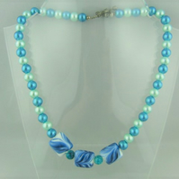 Blue Pearl and Ceramic Bead Necklace