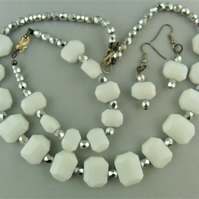 White Hexagon Beads and Silver Faceted Bead 3 Piece Jewellery Set