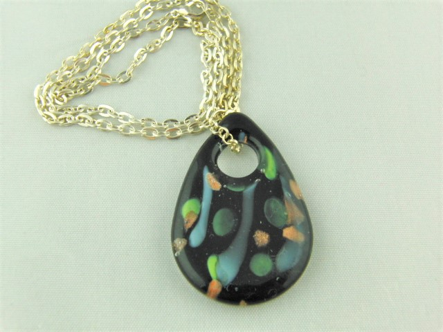 Black Opaque Glass Teardrop Pendant with Green Blue and Gold Pattern