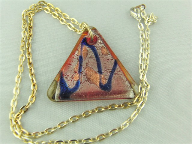 Red Triangle Glass Pendant Patterned with Blue and Gold on a Silver Plated Chain