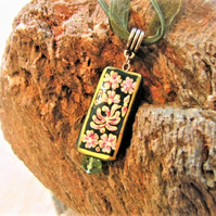 Green Rectangular Glass Pendant Necklace with Painted Red & White Flower