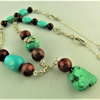 Turquoise Nugget Beads and Mahogany Jasper Round Bead and Chain Necklace