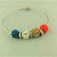 Red Mocha White Teal Shamballa Bead Bracelet with Silver Plated Spacers