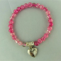 Pink Crackle Bead Bracelet with Silver Plated Opening Heart Locket