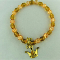 Topaz Glass Bead Bracelet with Gold Plated Crown Charm