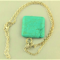 Large Turquoise Square Pendant on a Silver Plated Chain