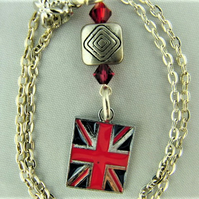 Silver Plated Union Jack and Crystal Pendant on a Silver Plated Chain
