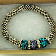Teal and Purple Shamballa Bead and Crystal Rondelle Bead Snowflake Bracelet