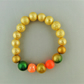 Orange and Gold Beaded Stretch Bracelet