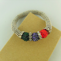 Red Purple and Green Shamballa Bead and Crystal Rondelle Bead Snowflake Bracelet