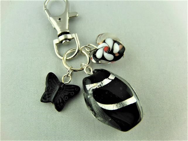 Black Lampwork Bead Heart and Butterfly Bag Charm