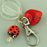 Red Glass Ladybird and Heart Bead and White Glass Coin Bead Bag Charm