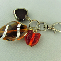 Brown Glass and Cat Bead and Ceramic Heart Bag Charm