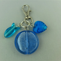 Blue Glass Bead Heart and Fish Bag Charm