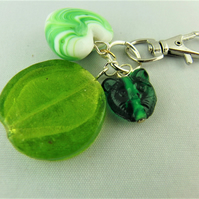 Green Glass Cat and Coin Bead and Ceramic Heart Bag Charm