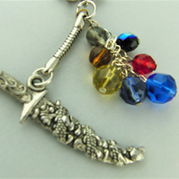 Silver Dagger Charm and Multi Coloured Crystal Bead Key Ring