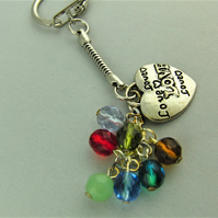 Silver Love Heart Charm and Multi Coloured Crystal Bead Key Ring