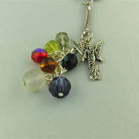 Multi Coloured Crystal Bead and Silver Angel Charm Key Ring