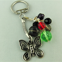 Silver Butterfly Charm and Multi Coloured Crystal Key Ring