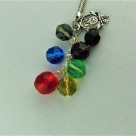 Silver Cuckoo Clock Charm and Multi Coloured Crystal Bead Key Ring