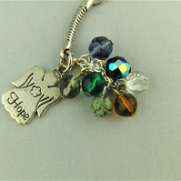 Silver Hope Angel Charm and Multi Coloured Crystal Bead Key Ring