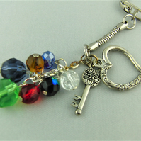 Silver Heart and Key Charms and Multi Coloured Crystal Bead Key Ring