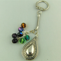 Silver Tear Drop Charm and Multi Coloured Crystal Bead Key Ring