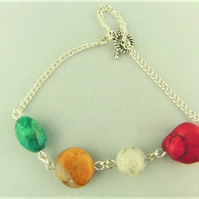 Semi Precious Bead and Silver Plated Chain Elements Bracelet with Safety Chain
