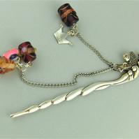 Silver Fish Beaded Bookmark with Pink and Purple Lampwork Beads & Silver Charms