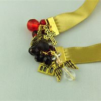 Gold Satin Ribbon Bead Bookmark with Red Crystals & Gold Plated Religious Charms