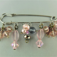 Pink Beaded Crystal Charm Ladies Kilt Pin Brooch