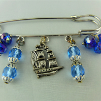 Kilt Pin Brooch with Blue Crystal Charms and Silver Plated Ship Charm