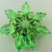 Ladies Wire Wrapped Green Crystal Beaded Flower Brooch