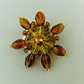 Wire Wrapped Amber and Topaz Ladies Crystal Beaded Flower Brooch
