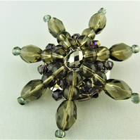 Wire Wrapped Brown and Purple Ladies Crystal Beaded Flower Brooch