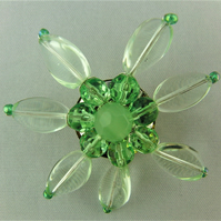 Green Wire Wrapped Ladies Crystal Beaded Floral Brooch