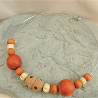 Wooden Cork and Bone Beaded Ladies Choker Necklace on a Rigid Silver Plated Base