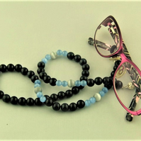 Navy Blue Glass Beads and Grey Cats Eye Beads Glasses Cord