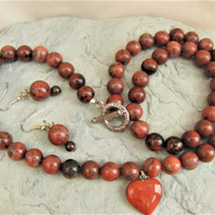 Red Jasper and Mahogany Obsidian 3 Piece Jewellery Set, Semi Precious Jewellery