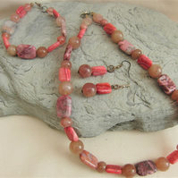 Pink Jasper and Raspberry Quartz Beaded Jewellery Set, Semi Precious Jewellery