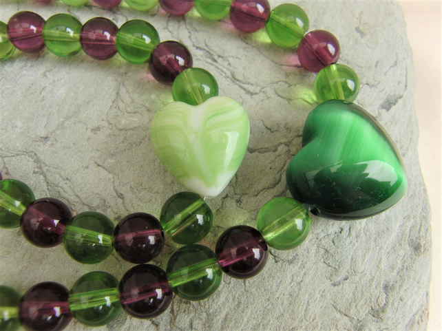 Green and Purple Beaded Jewellery Set with Ceramic and Cats Eye Heart Centres