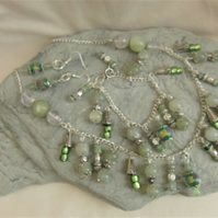 Green Jade & Clear Quartz Jewellery Set with Silver Beads & Green Glass Beads