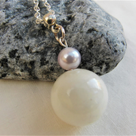 Honey Jade and Mauve Pearl Beaded Pendant Necklace, Ladies Semi Precious Pendant
