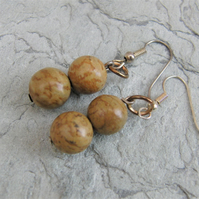 Wood Jasper Semi Precious Earrings for Pierced Ears