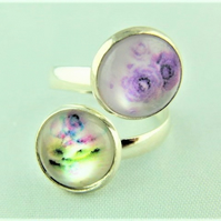 Adjustable Ladies Ring with 2 Lilac Flower Cabochons