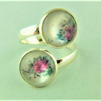 Ladies Adjustable Statement Ring with 2 Pink Flower Cabochons