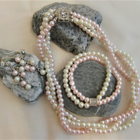 Pink & Cream 3 Strand Pearl Jewellery Set, Ladies Jewellery Set