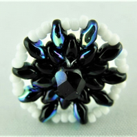 Ladies Adjustable Statement Ring with a Hand Sewn Black and White Beaded Mandala